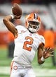 Oct 13, 2017; Syracuse, NY, USA; Clemson Tigers quarterback Kelly Bryant (2) warms up prior to the game against the Syracuse Orange at the Carrier Dome. Mandatory Credit: Rich Barnes-USA TODAY Sports