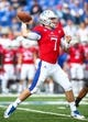 Oct 7, 2017; Lawrence, KS, USA; Kansas Jayhawks quarterback Peyton Bender (7) throws a pass against the Texas Tech Red Raiders in the first half at Memorial Stadium. Mandatory Credit: Jay Biggerstaff-USA TODAY Sports