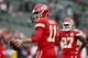 Oct 19, 2017; Oakland, CA, USA; Kansas City Chiefs quarterback Alex Smith (11) stands on the field prior to the game against the Oakland Raiders at Oakland Coliseum. Mandatory Credit: Cary Edmondson-USA TODAY Sports