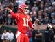 Oct 19, 2017; Oakland, CA, USA; Kansas City Chiefs quarterback Alex Smith (11) throws the ball against the Oakland Raiders during the first quarter at Oakland Coliseum. Mandatory Credit: Kelley L Cox-USA TODAY Sports