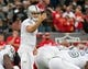 Oct 19, 2017; Oakland, CA, USA; Oakland Raiders quarterback Derek Carr (4) calls out to teammates against the Kansas City Chiefs during the first quarter at Oakland Coliseum. Mandatory Credit: Kelley L Cox-USA TODAY Sports