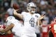 Oct 19, 2017; Oakland, CA, USA; Oakland Raiders quarterback Derek Carr (4) throws the ball against the Kansas City Chiefs in the first quarter at Oakland Coliseum. Mandatory Credit: Cary Edmondson-USA TODAY Sports