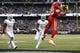 Oct 19, 2017; Oakland, CA, USA; Kansas City Chiefs tight end Travis Kelce (87) catches a touchdown pass against the Oakland Raiders in the first quarter at Oakland Coliseum. Mandatory Credit: Cary Edmondson-USA TODAY Sports