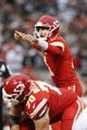Oct 19, 2017; Oakland, CA, USA; Kansas City Chiefs quarterback Alex Smith (11) calls a play against the Oakland Raiders in the first quarter at Oakland Coliseum. Mandatory Credit: Cary Edmondson-USA TODAY Sports