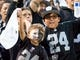 Oct 19, 2017; Oakland, CA, USA; Oakland Raiders fans cheer during the first quarter against the Kansas City Chiefs at Oakland Coliseum. Mandatory Credit: Kelley L Cox-USA TODAY Sports