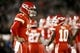Oct 19, 2017; Oakland, CA, USA; Kansas City Chiefs quarterback Alex Smith (11) waits for a play call against the Oakland Raiders in the third quarter at Oakland Coliseum. The Raiders defeated the Chiefs 31-30. Mandatory Credit: Cary Edmondson-USA TODAY Sports