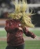 Oct 21, 2017; Pullman, WA, USA; Washington State Cougars dance team member performs during a game against the Colorado Buffaloes at Martin Stadium. Mandatory Credit: James Snook-USA TODAY Sports