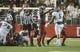 Oct 21, 2017; Pullman, WA, USA; Washington State Cougars linebacker Frankie Luvu (51) celebrates a stop of the Colorado Buffaloes offense during the first half at Martin Stadium. Mandatory Credit: James Snook-USA TODAY Sports