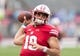 Oct 14, 2017; Madison, WI, USA; Wisconsin Badgers quarterback Kare Lyles (19) during warmups prior to the game against the Purdue Boilermakers at Camp Randall Stadium. Mandatory Credit: Jeff Hanisch-USA TODAY Sports