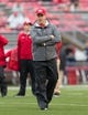 Oct 14, 2017; Madison, WI, USA; Wisconsin Badgers head coach Paul Chryst during warmups prior to the game against the Purdue Boilermakers at Camp Randall Stadium. Mandatory Credit: Jeff Hanisch-USA TODAY Sports