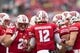 Oct 14, 2017; Madison, WI, USA; The Wisconsin Badgers offense huddles during the game against the Purdue Boilermakers at Camp Randall Stadium. Mandatory Credit: Jeff Hanisch-USA TODAY Sports