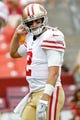 Oct 15, 2017; Landover, MD, USA; San Francisco 49ers quarterback Brian Hoyer (2) stands on the field during warm ups prior to the 49ers game against the Washington Redskins at FedEx Field. Mandatory Credit: Geoff Burke-USA TODAY Sports