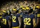 Oct 7, 2017; Ann Arbor, MI, USA; Michigan Wolverines prepare to take the field prior to a game against the Michigan State Spartans at Michigan Stadium. Mandatory Credit: Mike Carter-USA TODAY Sports