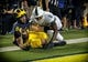 Oct 7, 2017; Ann Arbor, MI, USA; Michigan Wolverines tight end Sean McKeon (84) has pass broken up by Michigan State Spartans cornerback Justin Layne (2) during the first quarter of a game at Michigan Stadium. Mandatory Credit: Mike Carter-USA TODAY Sports