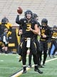 Nov 4, 2017; Columbia, MO, USA; Missouri Tigers quarterback Drew Lock (3) warms up before the game against the Florida Gators at Faurot Field. Mandatory Credit: Denny Medley-USA TODAY Sports