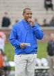 Nov 4, 2017; Columbia, MO, USA; Florida Gators head coach Randy Shannon watches team warm ups before the game against the Missouri Tigers at Faurot Field. Mandatory Credit: Denny Medley-USA TODAY Sports