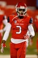 Nov 4, 2017; Fresno, CA, USA; Fresno State Bulldogs wide receiver KeeSean Johnson (3) warms up before the start of the game against the Brigham Young Cougars at Bulldog Stadium. Mandatory Credit: Kiel Maddox-USA TODAY Sports