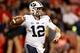 Nov 4, 2017; Fresno, CA, USA; Brigham Young Cougars quarterback Tanner Mangum (12) throws the ball during the second quarter against the Fresno State Bulldogs at Bulldog Stadium. Mandatory Credit: Kiel Maddox-USA TODAY Sports