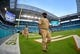 Nov 5, 2017; Miami Gardens, FL, USA; Members of the U.S. Navy walk on to the field at Hard Rock Stadium prior to the game between the Miami Dolphins and the Oakland Raiders. Mandatory Credit: Jasen Vinlove-USA TODAY Sports