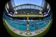 Nov 5, 2017; Miami Gardens, FL, USA; A general view of the goal post with the Miami Dolphins salute to service logo at Hard Rock Stadium prior to the game between the Miami Dolphins and the Oakland Raiders. Mandatory Credit: Jasen Vinlove-USA TODAY Sports