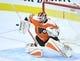Nov 9, 2017; Philadelphia, PA, USA; Philadelphia Flyers goalie Brian Elliott (37) makes a save against the Chicago Blackhawks during the third period at Wells Fargo Center. Mandatory Credit: Eric Hartline-USA TODAY Sports