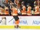 Nov 9, 2017; Philadelphia, PA, USA; Philadelphia Flyers right wing Jakub Voracek (93) celebrates his goal with teammates against the Chicago Blackhawks during the first period at Wells Fargo Center. Mandatory Credit: Eric Hartline-USA TODAY Sports
