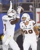 Nov 11, 2017; Pasadena, CA, USA; Arizona State Sun Devils wide receiver N'Keal Harry (1) celebrates with wide receiver Jalen Harvey (89) after scoring a touchdown against the UCLA Bruins during the first half at Rose Bowl. Mandatory Credit: Kelvin Kuo-USA TODAY Sports