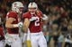 Nov 25, 2017; Stanford, CA, USA; Stanford Cardinal wide receiver Trenton Irwin (2) celebrates with teammates after a touchdown catch during the first quarter against the Notre Dame Fighting Irish at Stanford Stadium. Mandatory Credit: Sergio Estrada-USA TODAY Sports