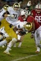 Nov 25, 2017; Stanford, CA, USA; Notre Dame Fighting Irish running back Josh Adams (33) gets tackled by the Stanford Cardinal defense during the second quarter at Stanford Stadium. Mandatory Credit: Sergio Estrada-USA TODAY Sports