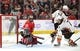 Nov 27, 2017; Chicago, IL, USA; Anaheim Ducks right wing Jakob Silfverberg (not pictured) scores a goal past Chicago Blackhawks goalie Corey Crawford (50) during the second period at the United Center. Mandatory Credit: Dennis Wierzbicki-USA TODAY Sports