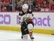 Nov 27, 2017; Chicago, IL, USA; Anaheim Ducks defenseman Brandon Montour (26) appears to be injured during the third period against the Chicago Blackhawks at the United Center. Chicago won 7-3. Mandatory Credit: Dennis Wierzbicki-USA TODAY Sports