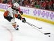 Nov 27, 2017; Chicago, IL, USA; Anaheim Ducks left wing Andrew Cogliano (7) chases the puck during the third period against the Chicago Blackhawks at the United Center. Chicago won 7-3. Mandatory Credit: Dennis Wierzbicki-USA TODAY Sports