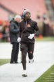 Dec 10, 2017; Cleveland, OH, USA; Cleveland Browns cornerback Darius Hillary (28) runs during warmups before the against the Green Bay Packers at FirstEnergy Stadium. Mandatory Credit: Scott R. Galvin-USA TODAY Sports