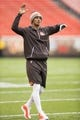 Dec 10, 2017; Cleveland, OH, USA; Cleveland Browns quarterback DeShone Kizer warms up before the game against the Green Bay Packers at FirstEnergy Stadium. Mandatory Credit: Scott R. Galvin-USA TODAY Sports