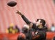 Dec 10, 2017; Cleveland, OH, USA; Cleveland Browns quarterback Cody Kessler throws the ball during warmups before the game against the Green Bay Packers at FirstEnergy Stadium. Mandatory Credit: Scott R. Galvin-USA TODAY Sports