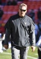 Dec 10, 2017; Kansas City, MO, USA; Oakland Raiders head coach Jack Del Rio watches the team warm up before the game against the Kansas City Chiefs at Arrowhead Stadium. Mandatory Credit: Denny Medley-USA TODAY Sports