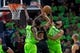 Dec 16, 2017; Minneapolis, MN, USA; Minnesota Timberwolves center Karl-Anthony Towns (32) fouls Phoenix Suns forward TJ Warren (12) in the second quarter at Target Center. Mandatory Credit: Brad Rempel-USA TODAY Sports
