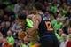 Dec 16, 2017; Minneapolis, MN, USA; Phoenix Suns forward TJ Warren (12) defends Minnesota Timberwolves forward Jimmy Butler (23) in the second quarter at Target Center. Mandatory Credit: Brad Rempel-USA TODAY Sports