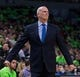 Dec 16, 2017; Minneapolis, MN, USA; Phoenix Suns interim head coach Jay Triano coaches in the second quarter against the Minnesota Timberwolves at Target Center. Mandatory Credit: Brad Rempel-USA TODAY Sports
