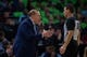 Dec 16, 2017; Minneapolis, MN, USA; Minnesota Timberwolves head coach Tom Thibodeau talks to referee Mark Ayotte in the second quarter against the Phoenix Suns at Target Center. Mandatory Credit: Brad Rempel-USA TODAY Sports