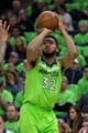 Dec 16, 2017; Minneapolis, MN, USA; Minnesota Timberwolves center Karl-Anthony Towns (32) shoots in the first quarter against the Phoenix Suns at Target Center. Mandatory Credit: Brad Rempel-USA TODAY Sports