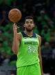 Dec 16, 2017; Minneapolis, MN, USA; Minnesota Timberwolves center Karl-Anthony Towns (32) in the second quarter against the Phoenix Suns at Target Center. Mandatory Credit: Brad Rempel-USA TODAY Sports
