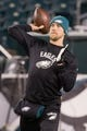 Dec 25, 2017; Philadelphia, PA, USA; Philadelphia Eagles quarterback Nick Foles (9) warms up before action against the Oakland Raiders at Lincoln Financial Field. Mandatory Credit: Bill Streicher-USA TODAY Sports