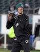 Dec 25, 2017; Philadelphia, PA, USA; Philadelphia Eagles quarterback Nick Foles throws a pass before an NFL football game against the Oakland Raiders at Lincoln Financial Field. Mandatory Credit: Kirby Lee-USA TODAY Sports