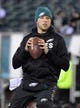 Dec 25, 2017; Philadelphia, PA, USA; Philadelphia Eagles quarterback Nate Sudfeld throws a pass before an NFL football game against the Oakland Raiders at Lincoln Financial Field. Mandatory Credit: Kirby Lee-USA TODAY Sports