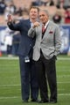 Jan 6, 2018; Los Angeles, CA, USA; Los Angeles Rams general manager Les Snead (left) and Atlanta Falcons owner Arthur Blank during the NFC Wild Card playoff football game at Los Angeles Memorial Coliseum. Mandatory Credit: Kirby Lee-USA TODAY Sports