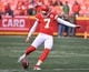 Jan 6, 2018; Kansas City, MO, USA; Kansas City Chiefs kicker Harrison Butker (7) warms up before the game against the Tennessee Titans in the AFC Wild Card playoff football game at Arrowhead stadium. Mandatory Credit: Denny Medley-USA TODAY Sports