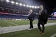 Jan 13, 2018; Foxborough, MA, USA; New England Patriots ceo Robert Kraft (left) walks the field with New England Patriots vice president of media relations Stacey James prior to the AFC Divisional playoff game against the Tennessee Titans at Gillette Stadium. Mandatory Credit: David Butler II-USA TODAY Sports