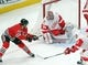 Jan 14, 2018; Chicago, IL, USA; Detroit Red Wings goalie Petr Mrazek (34) makes a save on a shot from Chicago Blackhawks center Jonathan Toews (19) during the third period at the United Center. Detroit won 4-0. Mandatory Credit: Dennis Wierzbicki-USA TODAY Sports
