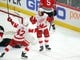 Jan 14, 2018; Chicago, IL, USA; Detroit Red Wings left wing Tyler Bertuzzi (59) celebrates scoring a goal with right wing Martin Frk (42) during the third period against the Chicago Blackhawks at the United Center. Detroit won 4-0. Mandatory Credit: Dennis Wierzbicki-USA TODAY Sports